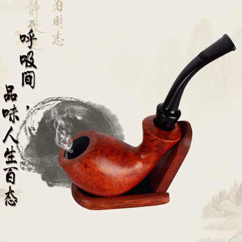 Haut de gamme authentique pierre du bois pipe Amovible plat bouche bois pipe à la main