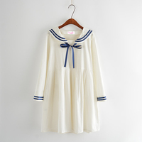 2017 New Spring Cute Preppy Style Fashion Women High Waist Student Mori Girls Dress Sailor Collar