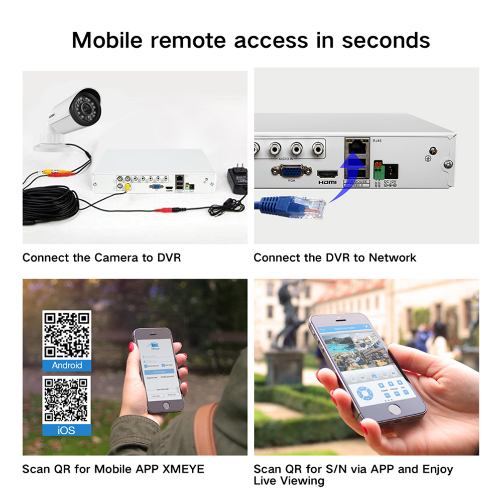 Image 5 - H.VIEW 4ch CCTV Surveillance Kit 4 Cameras Outdoor Surveillance Kit IR Security Camera Video Surveillance System DVR Kits-in Surveillance System from Security & Protection