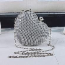 2015 Heart Shaped Cute Rivet Ladies Evening Bags Women Party Chain Clutches Bag Wedding Evening Clutch Purse pochette L570