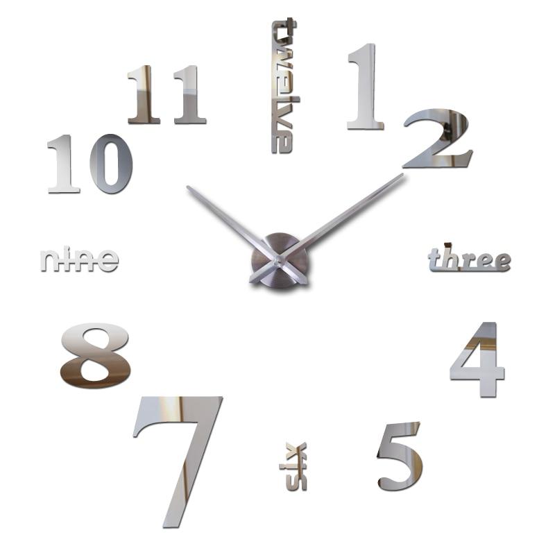 Hot Sale 3d Wall Clock Acrylic Mirror Diy Clocks Bedroom Wall Clock Grote Wandklok Modern Design Living Room