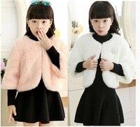 2016 Girls fake fur coat spring and autumn winter shawl flower girl dress cloak plush little coat