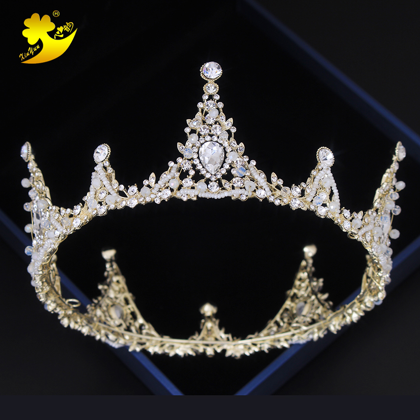 Xinyun Fashion Hair Jewelry Full Round Crown Wedding Hair Accessories Gold Pageant Crowns Queen Birthday Tiaras And Crown Bride