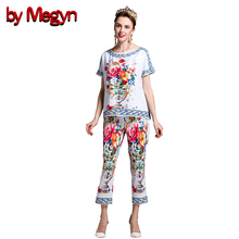 by Megyn 2017 Spring Summer Womens Twinset Short Sleeve Floral Print Tank Tops + Calf Length Pants Suit Women Twinset DG2051