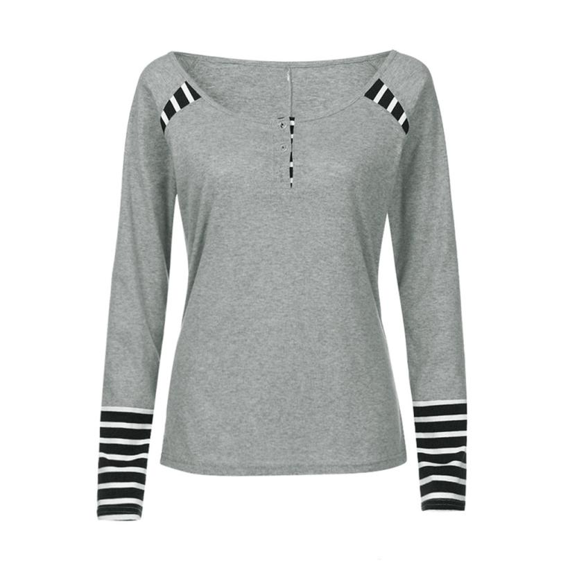Negro Algodón Ropa Rayas Camisa Poleras gris Manga Casual Las Larga Tops Mujeres Camisas Femme De Camiseta A 2018 Para Mujer O1UqA4O