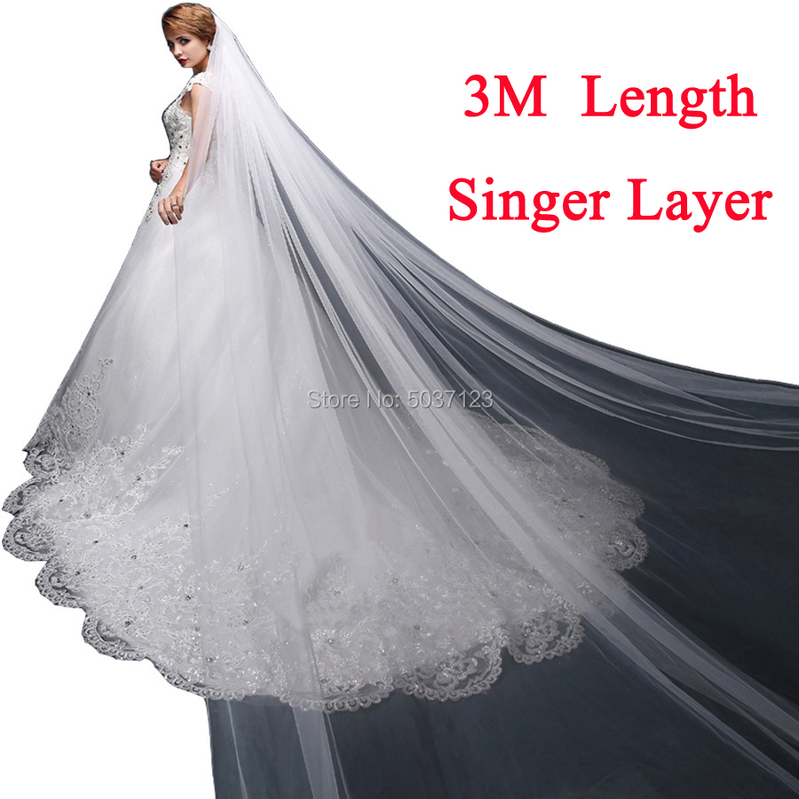 One Layer 3 Meters Long Tulle Wedding Bridal Veil With Comb White Ivory Signer Bridal Accessories