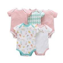 Meninos e Meninas Do Bebê Bodysuit conjunto de Roupas de verão definido para Bebes crianças notícias de manga curta Bodysuit Macacão de Algodão macio 5 pcs Pack