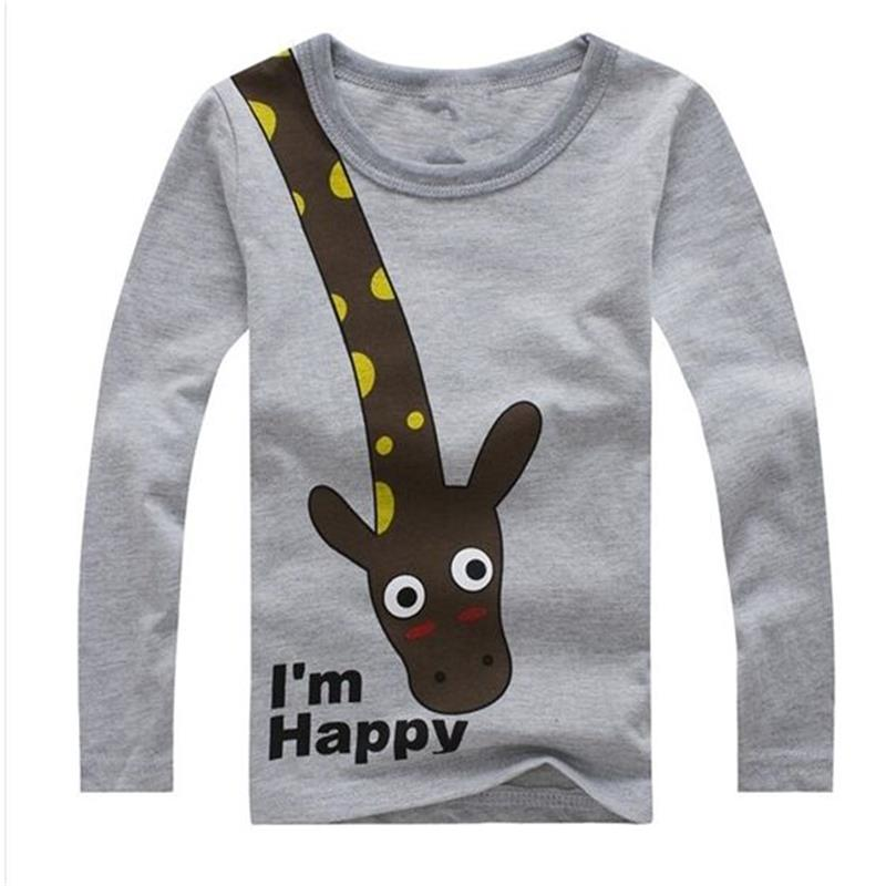 New 2017 cotton children t shirts, long sleeve t-shirts , cute giraffe cartoon t-shirt, girls and boys' t shirt, nova kids