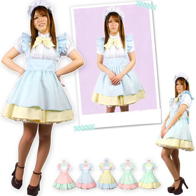 FREE pp Maid Dress Cosplay Maid <font><b>Costume</b></font> <font><b>Sexy</b></font> Lolita Apron Ruffle Dress Set <font><b>Alice</b></font> <font><b>In</b></font> <font><b>Wonderland</b></font> Halloween <font><b>Costume</b></font> Cosplay Party image