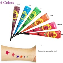6 multi color Herbal Henna tubeTattoo kit kroppskonst Henna MEHANDI MEHNDI DIY Hena vattentät