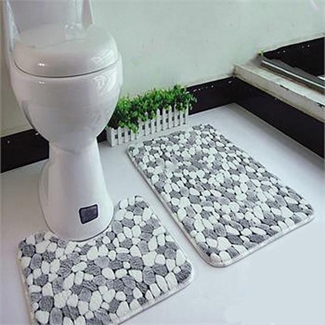 2pcs Set Bathroom Bath Pedestal Mat Bathmat Toilet Non Slip Soft