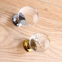 Modern Fashion Deluxe Bubble Crystal Drawer Win Cabinet Knob Pull Gold Silver Glass Crystal Dresser Kitchen