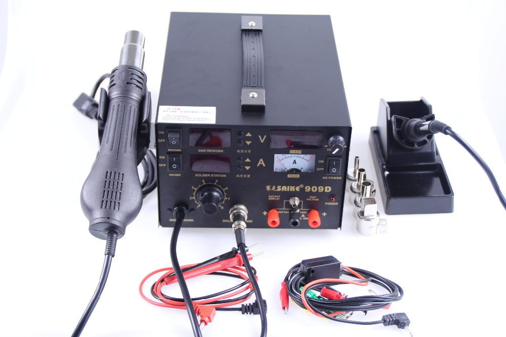 Soldering iron Hot Air Gun Power Supply 220V SAIKE 909D Soldering Hot air gun rework station 3 in 1