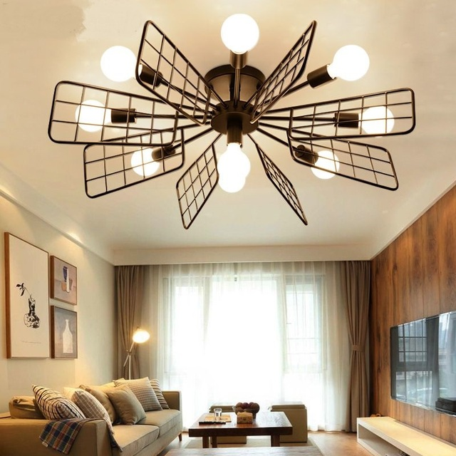 Nordic iron ceiling lightd creative fan lamps hollow style living room restaurant dining room bar clothing