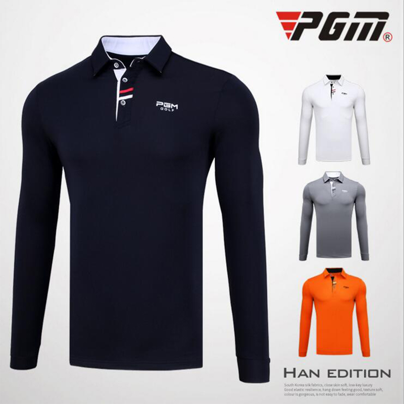 PGM Brand Breathable Mens Golf Shirts Outdoor Fit Polo Mens Quick Dry Long Sleeve T-shirts Clothing Table Tennis Shirt Polyester