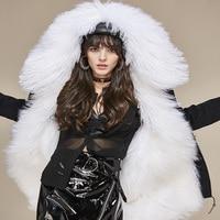 New High Fashion Women's Luxurious Lambskin Lamb Fur Parka MIDI Mongolia Sheep Fur Hooded Coat Outwear Winter Christmas Jacket