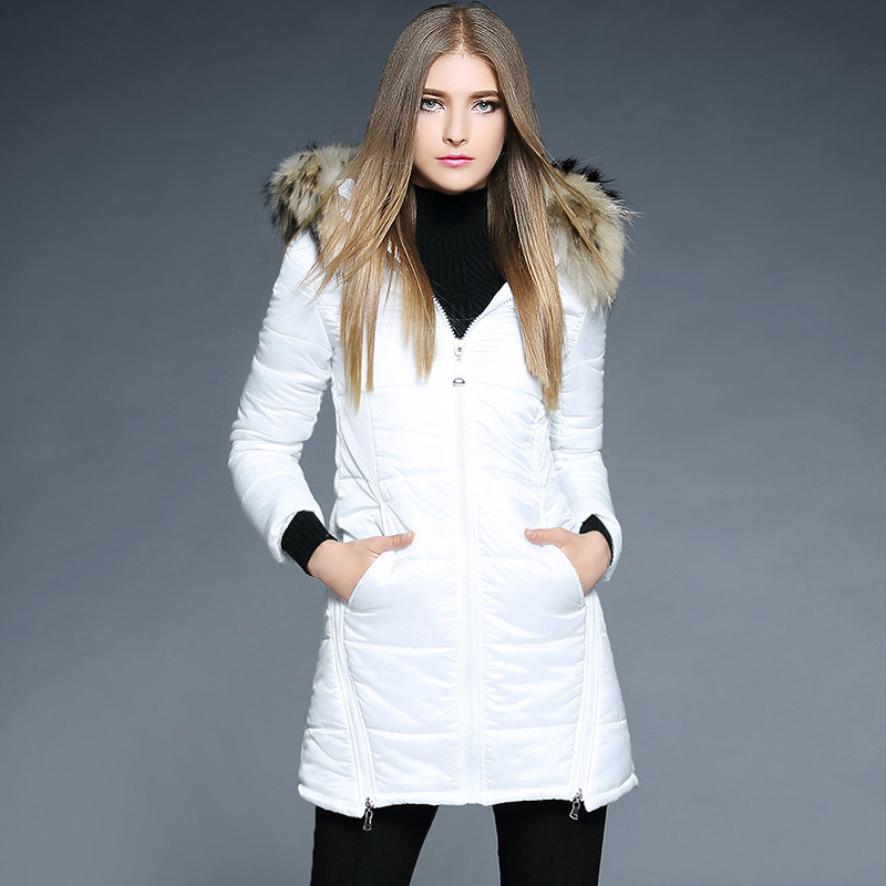 2017 New White thick down parkas coats for women Europe and America new winter Couture Long raccoon fur collar down women's coat factory outlets 2014 new winter in europe and america women british style stitching cotton quilted jacket short parkas coat