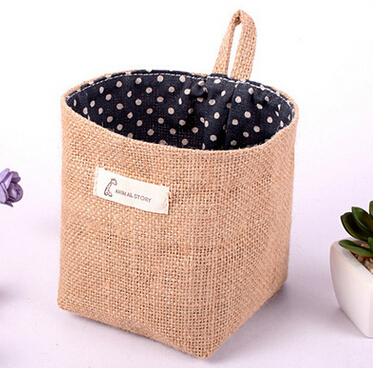 Home Furnishing Cotton Bags Double Fabric Wall Hanging Bag Pocket Containing Small Desktop Dormitory Free Shipping In Storage Holders Racks