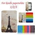 Кожаный Чехол для Amazon Kindle Paperwhite 1/2/3 случай 2012 2013 Paperwhite 3 (2015) читалка Смарт обложка + защитная пленка + стилус ручка