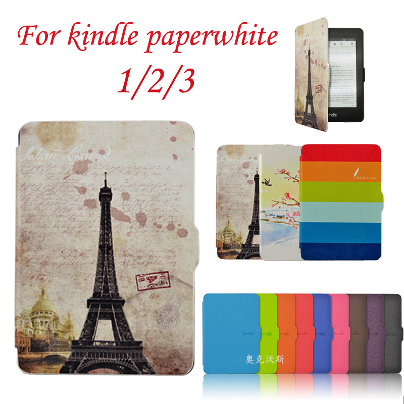 Leather Case for amazon Kindle Paperwhite 1/2/3 case 2012 2013 Paperwhite 3 (2015)ereader Smart cover+protective film+stylus pen yunai sleeve pouch for amazon kindle paperwhite case portable 6inch carry leather bag case cover for kindle paperwhite 1 2 3
