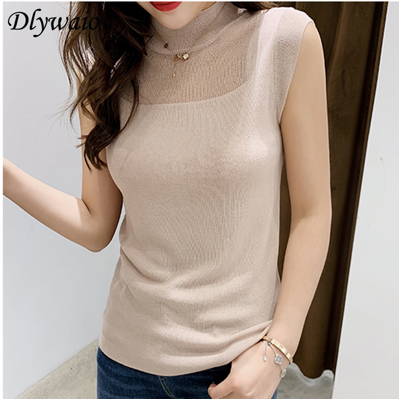 Half High Collar Sexy Tank Tops Women Sleeveless Knitted Vest Female Elasticity Solid Slim Pullover 2019 Summer Solid Bottoming