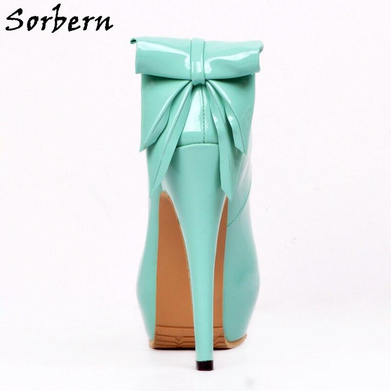 Sorbern Mint Green Shoes Slip On Bowknot Pump High Heels Platform Shoes Women Runway Shoes Plus Size 34 46 Custom Green Heels - 2