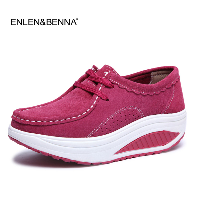 2017 Spring Casual Shoes Women Platform Body Shaping Shoes Fitness Shoes Fashion Genuine Leather Slimming Swing Shoes For Female