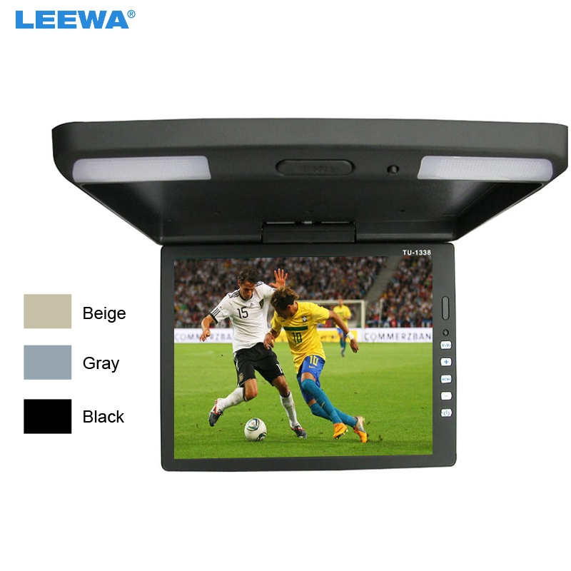 LEEWA 3-Color Black, Grey, Beige 13.3 Inch Car/Bus TFT LCD Roof Mounted Monitor Flip Down Monitor 2-Way Video Input 12V #CA1289 9 inch flip down tft lcd monitor 12v car monitor beige car roof mounted monitor car ceiling monitor with 2 video input