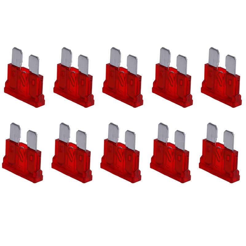 10 шт. 10AMP плавкие предохранители Стандартный Красный 10A плоский предохранитель автомобиль велосипед мотоцикл Ван авто