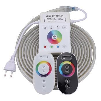 גבוהה בהירות RF מרחוק קיר בקר LED רצועת אור עמיד למים דיודה קלטת RGB LED רצועת 220 V 220 V LED סרט ledstrip