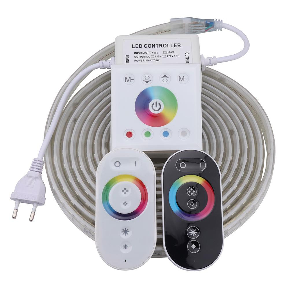 High Brightness RF Remote Wall Controller LED Strip Light Waterproof Diode Tape RGB LED Strip 220V 220 V LED Ribbon Ledstrip