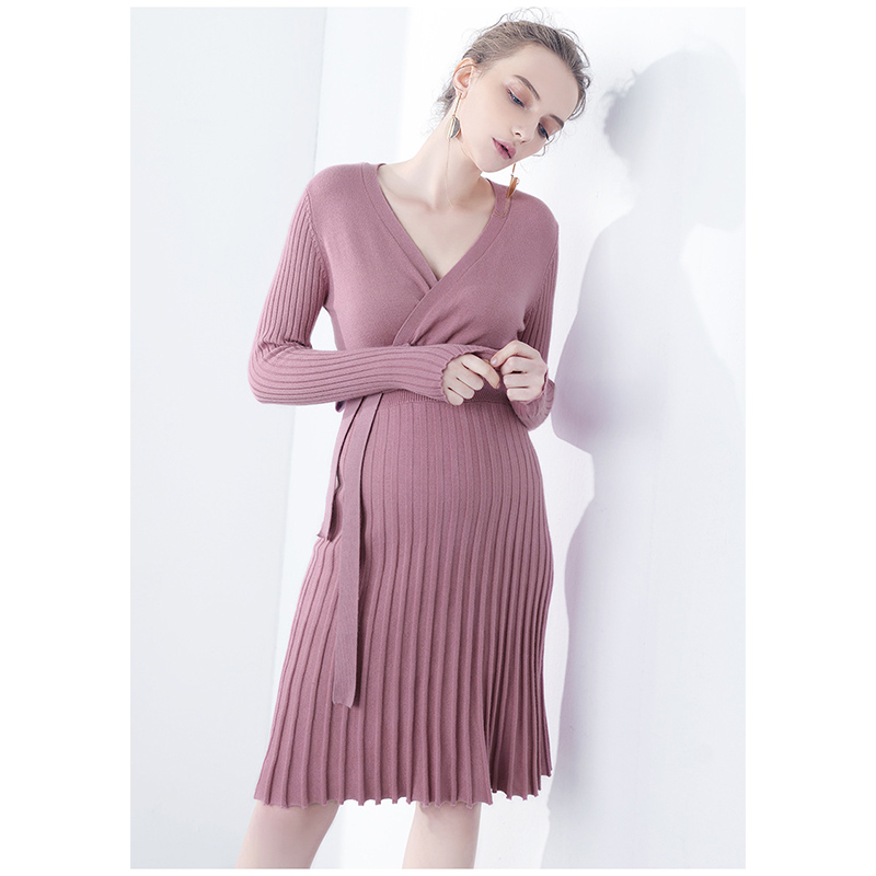 Maternity Dress For Pregnant MOKOMOM Slim Fitting Knit Pregnant Dress Full Sleeved Side Split Maternity Wedding Dress