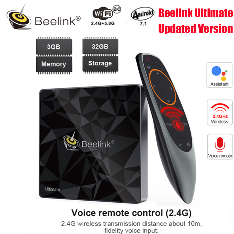 Beelink GT1 Ultimate Android 7.1 TV Box Amlogic S912 Octa Core CPU 3G RAM 32G ROM Bluetooth 4.0 FHD 4K décodeur lecteur multimédia