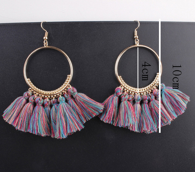 Lacoogh 2017 Ethnic Bohemia Drop Dangle Long Rope Fringe Cotton Tassel Earrings Trendy Sector Earrings for Women Fashion Jewelry 3