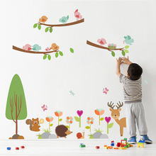 Owl Deer Tree Branch Flower Wall Stickers For Kids Room Nursery Decorations Home Decals Cute Animals Mural Decor Wall Art chic cartoon owl flower tree branch pattern scarf for women