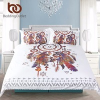 BeddingOutlet Boho Dream Catcher Feathers Duvet Cover Set Bohemian Hippie Bedding Set With Pillow Covers Microfiber