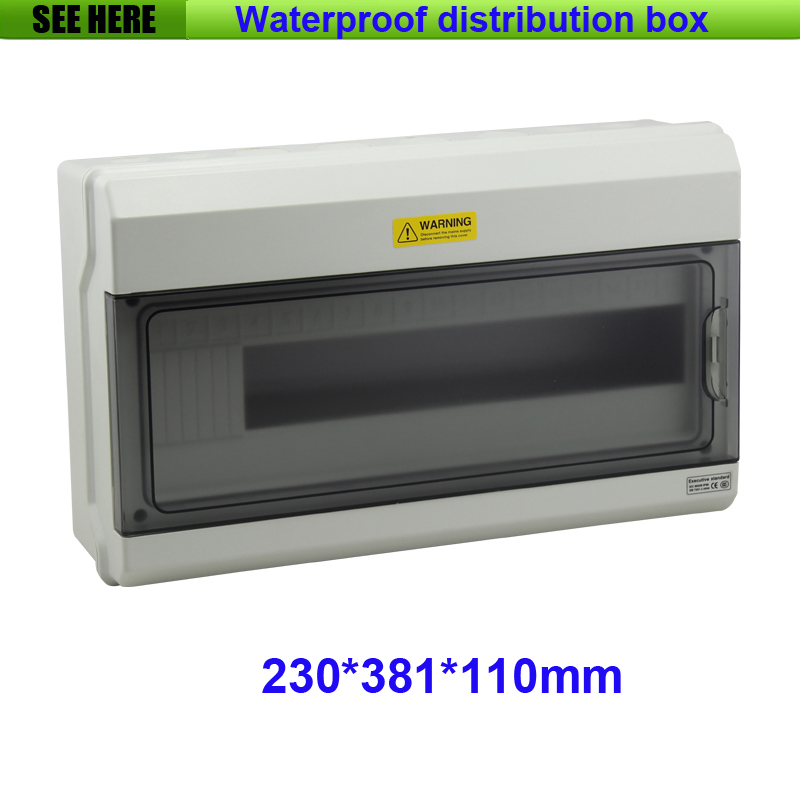 Free Shipping Best PC Material IP66 Waterproof Distribution Box High Quality 18way Distribution Box 230*381*110mm free shipping 1piece lot top quality 100% aluminium material waterproof ip67 standard aluminium electric box 188 120 78mm