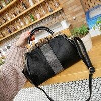 Vintage Woman Handbag Luxury Designer Horse Hair Fur Messenger Bag For Women Tote Rhinestone Metal Frame Shoulder Bags Black bao