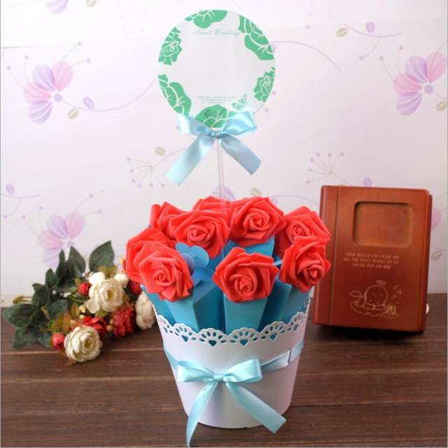 Online Shop 4 Sets Flower Pot Rose Ice Cream Cone Chocolate Candy ...