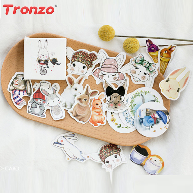 Aliexpress buy tronzo easter gift bags sticker birthday tronzo easter gift bags sticker birthday party decoration kids 45pcs self adhesive paper bunny rabbit negle Images