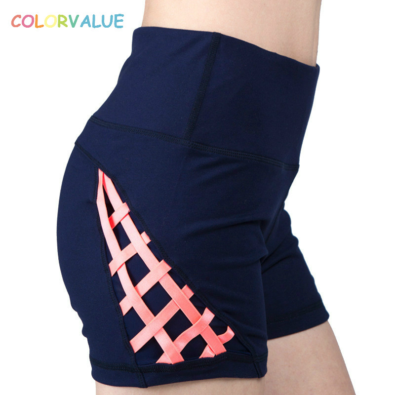 Colorvalue New Patchwork Running Shorts Women High Waist Fitness Gym Shorts High Elastic ...