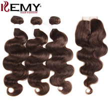 Medium Brown 4# Human Hair Bundles With Closure 4*4 KEMY HAIR Brazilian Body Wave Human Hair Weaves 3PCS Non-Remy Hair(China)