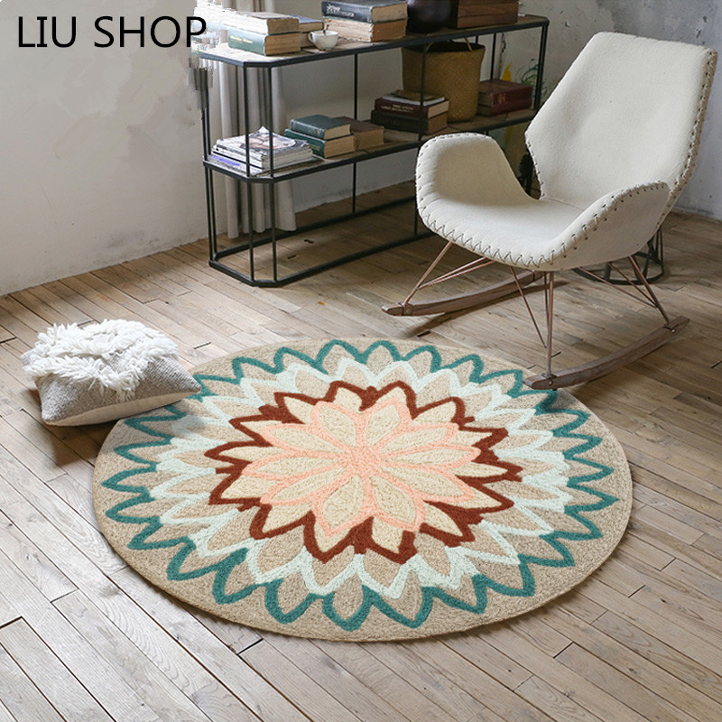LIU bohême fleur tapis rond nordique chambre salon simple panier chaise canapé tapis salon tapis luxe mode 90/100/120