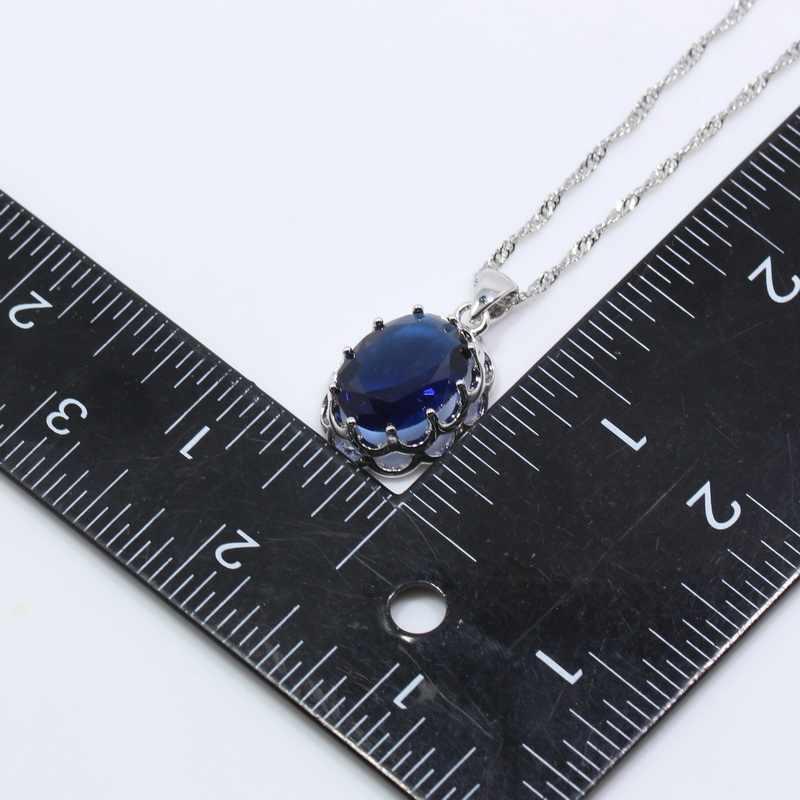 ดี-Lokkingชุดเครื่องประดับเงิน925สีฟ้าเพทายแหวนต่างหูสร้อยคอโซ่จี้สำหรับผู้หญิงฟรีกล่องของขวัญT115
