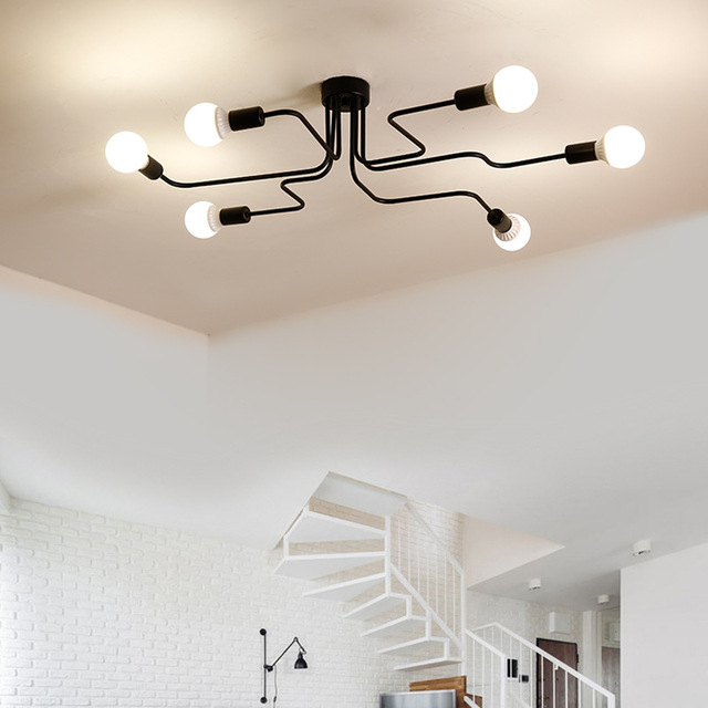 Multiple Rod metal chandelier Vintage Iron Ceiling Lamp Edison E27 Bulb Lamparas for Home Lighting Fixture Nordic Kitchen island 4