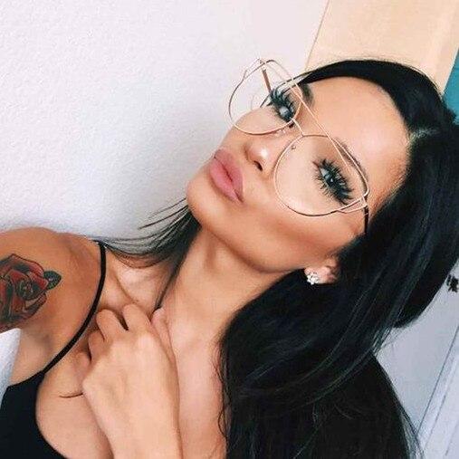 Hot 2017 New Cat Eye Sunglasses Women Brand Designer Fashion Twin-Beams Rose Gold Mirror Cateye Sun Glasses For Female UV400 195 4