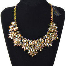 JEROLLIN Fashion Statement Pendant Crystal Chain Necklace Woman Wedding Party Jewelry Silver/Gold/Black/Colorful Collar
