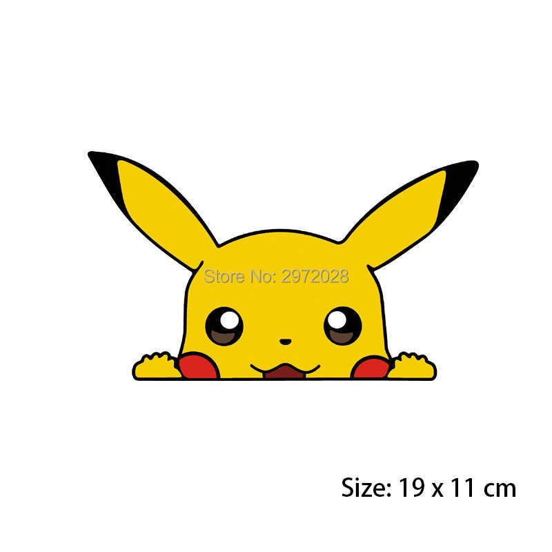 Nouveau Design dessin animé Pikachu Peeping créatif Auto décalque dessin animé voiture pare-chocs corps décalque modèle créatif vinyle