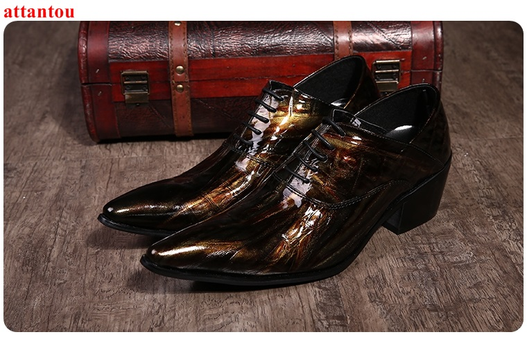 Lace Up Men's Leather Shoes bronze color Single Shoes Pointed Toe Luxury Male Casual Shoes Man Office Meeting Feast Formal Shoes hot sale blue snakeskin pointed toe men dress shoes lace up leather shoes luxury male casual shoes man office feast formal shoes