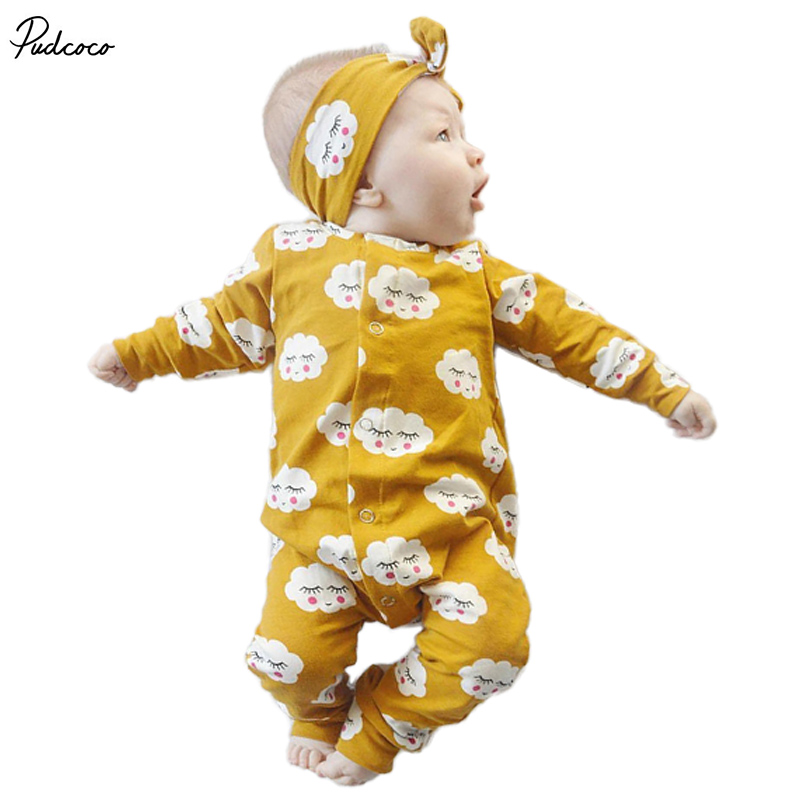 2 Pcs Newborn Baby boys Girls Cute Clouds   Romper  +Headband Set Infant Babies Kids Cloud   Rompers   one-pieces Outfits Kids Clothing